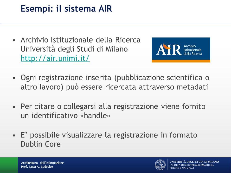 Esempi: il sistema AIR Archivio Istituzionale della Ricerca Università degli Studi di Milano http://air.unimi.it/