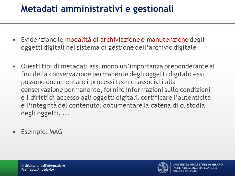Metadati amministrativi e gestionali