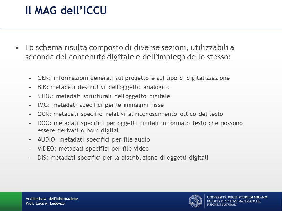 Il MAG dell'ICCU Lo schema risulta composto di diverse sezioni, utilizzabili a seconda del contenuto digitale e dell impiego dello stesso:
