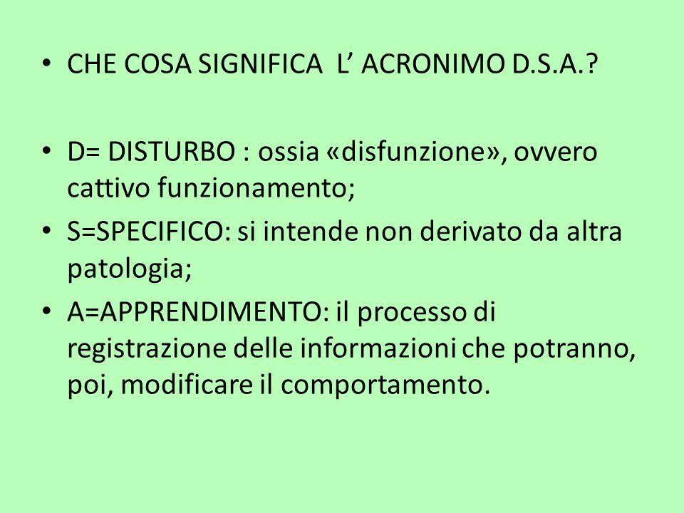 CHE COSA SIGNIFICA L' ACRONIMO D.S.A.