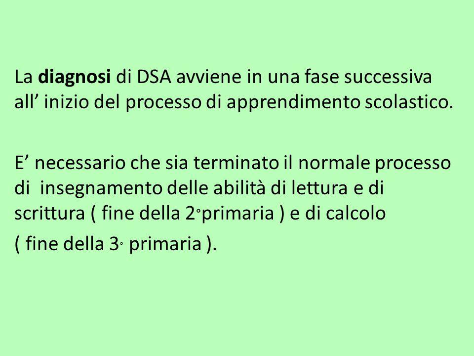 La diagnosi di DSA avviene in una fase successiva all' inizio del processo di apprendimento scolastico.