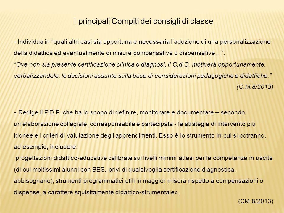 I principali Compiti dei consigli di classe