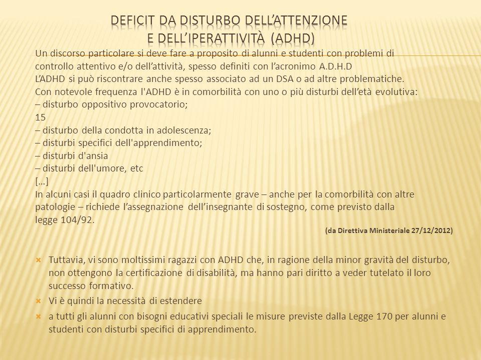 Deficit da disturbo dell'attenzione e dell'iperattività (ADHD)