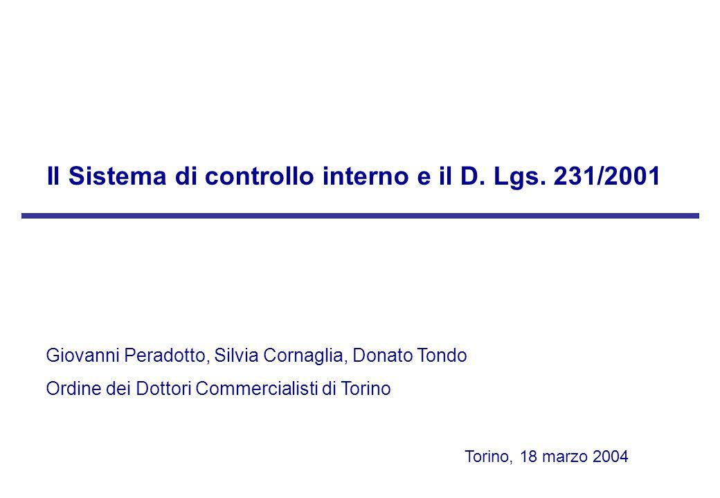 Il Sistema di controllo interno e il D. Lgs. 231/2001