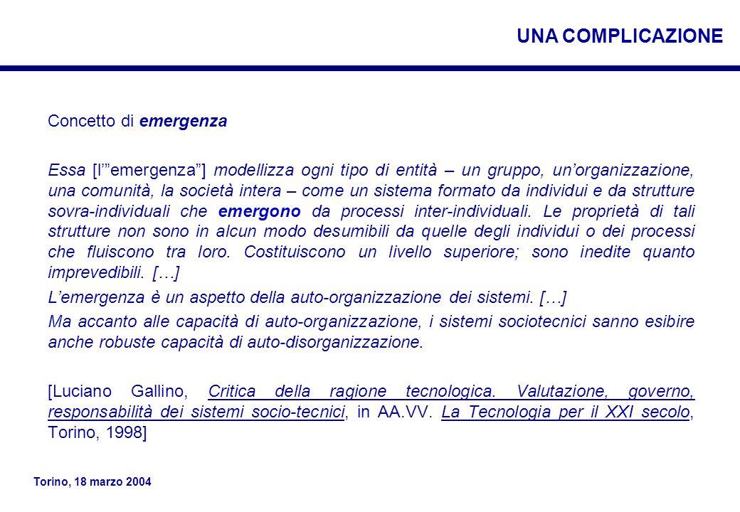 UNA COMPLICAZIONE Concetto di emergenza