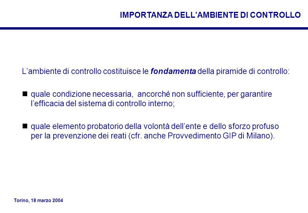IMPORTANZA DELL'AMBIENTE DI CONTROLLO