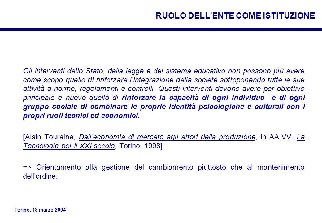 RUOLO DELL'ENTE COME ISTITUZIONE