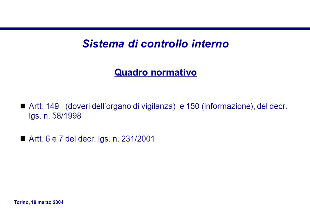 Sistema di controllo interno
