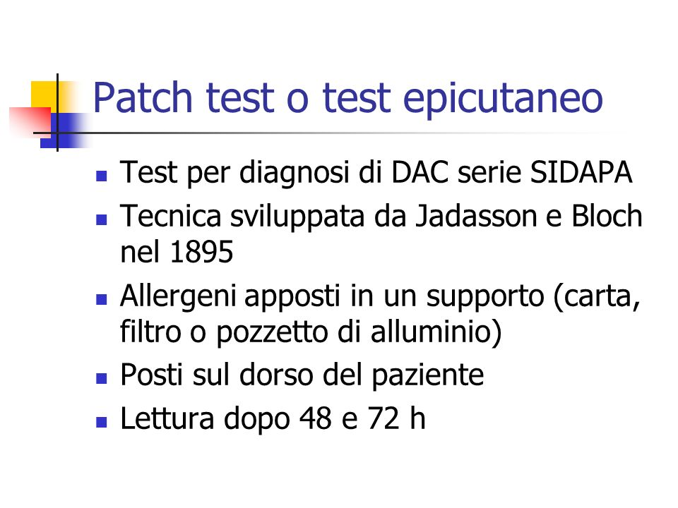 Patch test o test epicutaneo