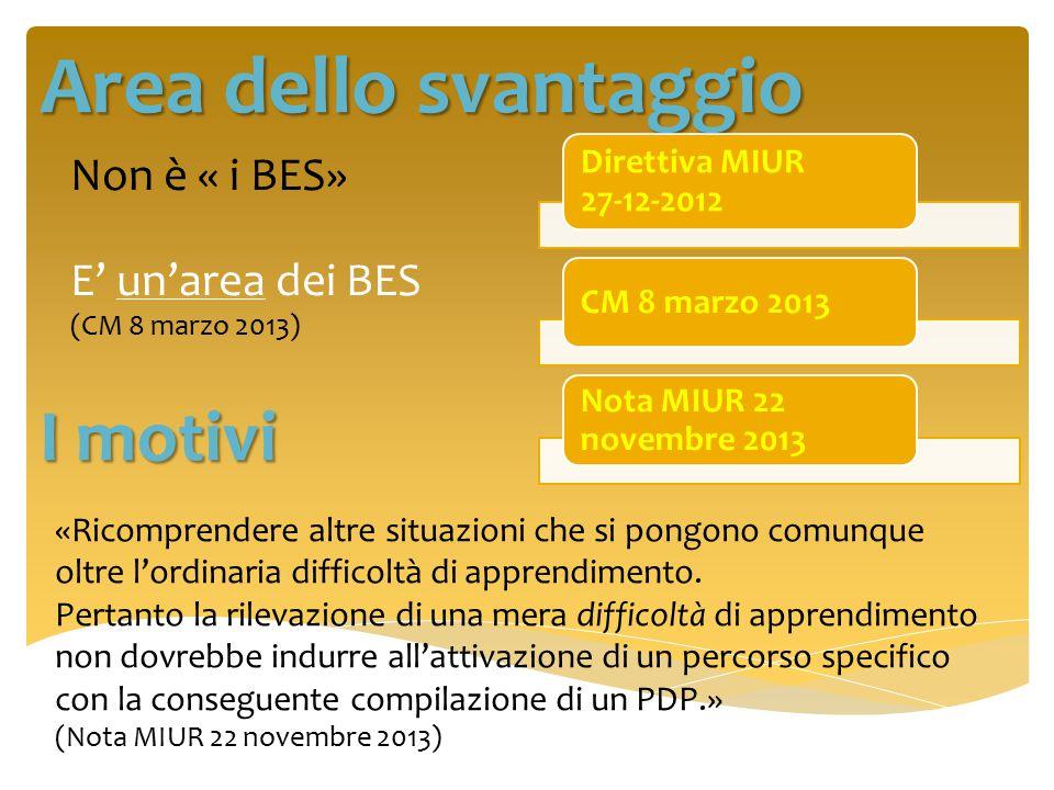 Area dello svantaggio I motivi Non è « i BES»