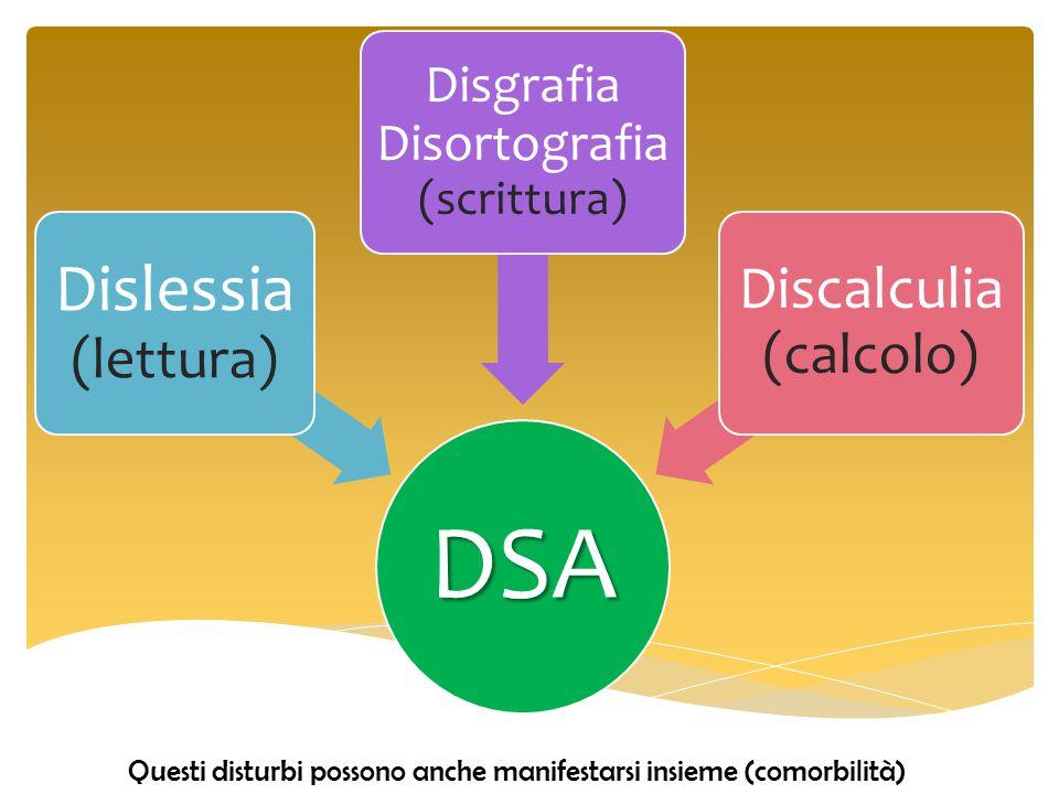 DSA Dislessia (lettura) Discalculia (calcolo)