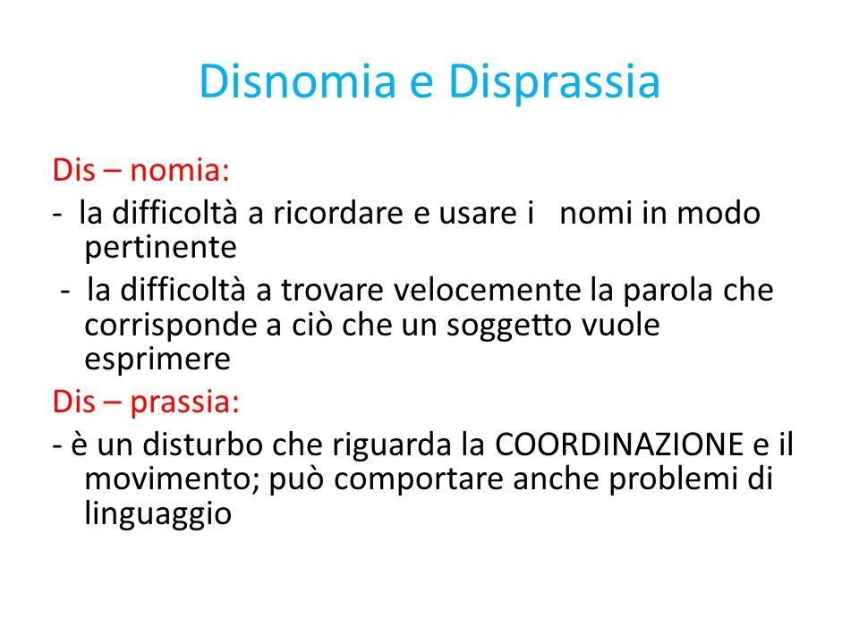 Disnomia e Disprassia