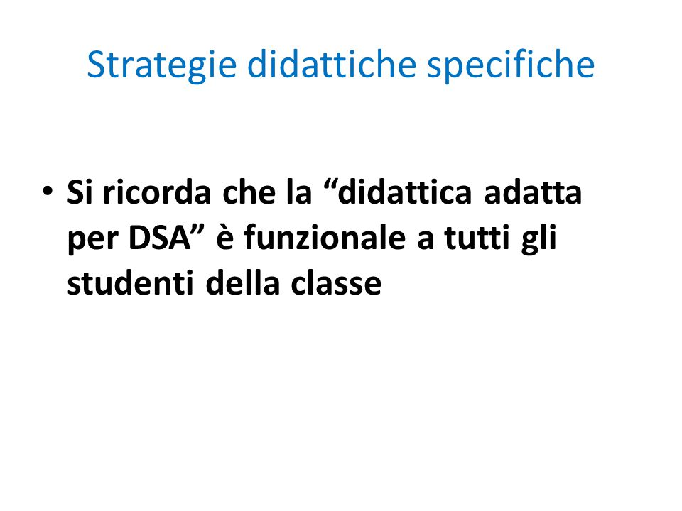 Strategie didattiche specifiche