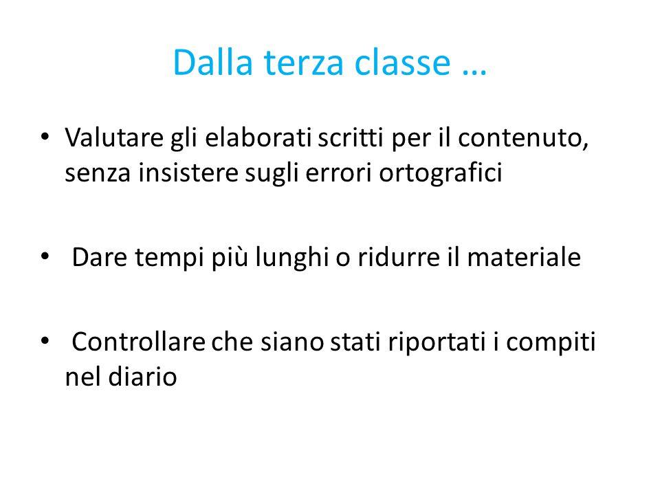 Dalla terza classe … Valutare gli elaborati scritti per il contenuto, senza insistere sugli errori ortografici.