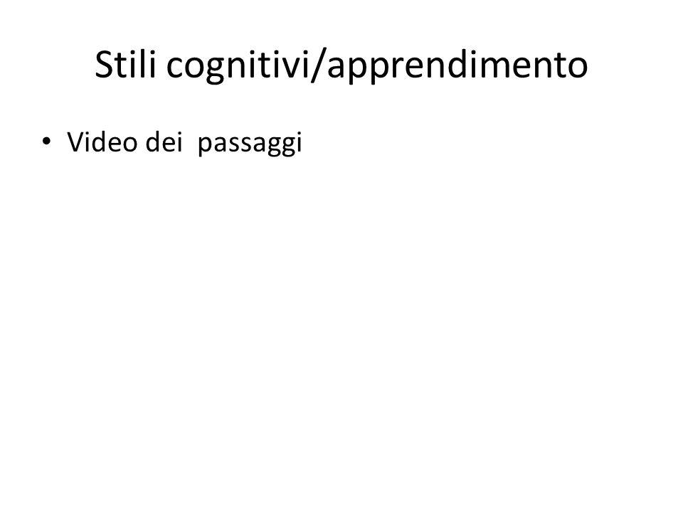 Stili cognitivi/apprendimento