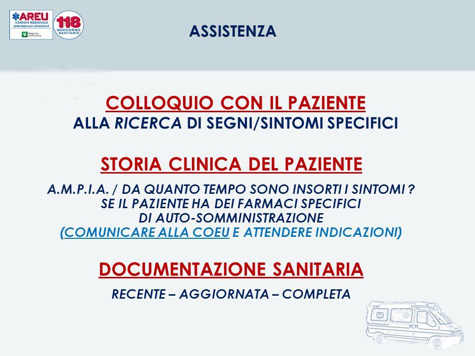COLLOQUIO CON IL PAZIENTE ALLA RICERCA DI SEGNI/SINTOMI SPECIFICI