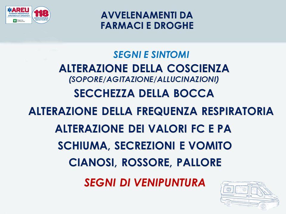 ALTERAZIONE DELLA COSCIENZA (SOPORE/AGITAZIONE/ALLUCINAZIONI)