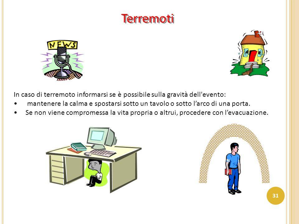 Terremoti In caso di terremoto informarsi se è possibile sulla gravità dell evento: