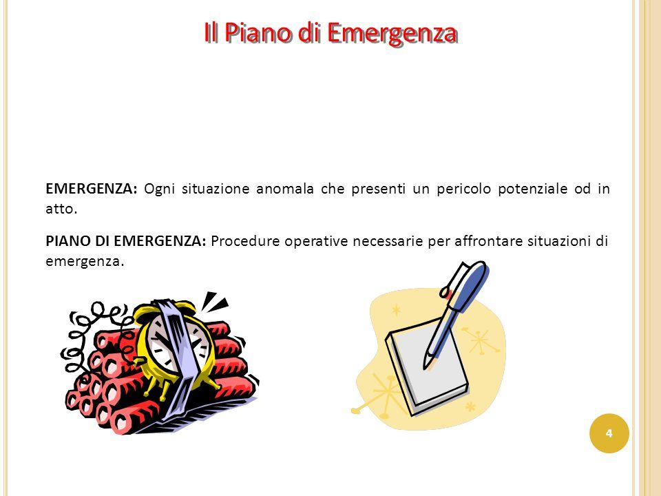 Il Piano di Emergenza EMERGENZA: Ogni situazione anomala che presenti un pericolo potenziale od in atto.