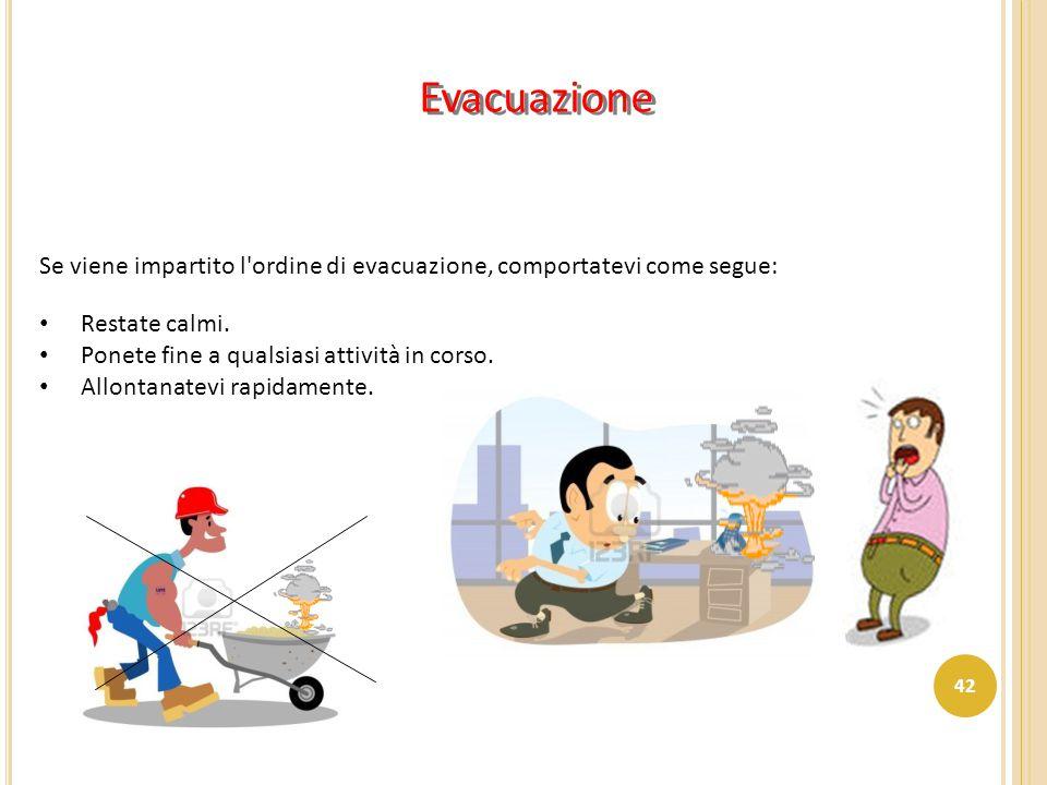 Evacuazione Se viene impartito l ordine di evacuazione, comportatevi come segue: Restate calmi. Ponete fine a qualsiasi attività in corso.