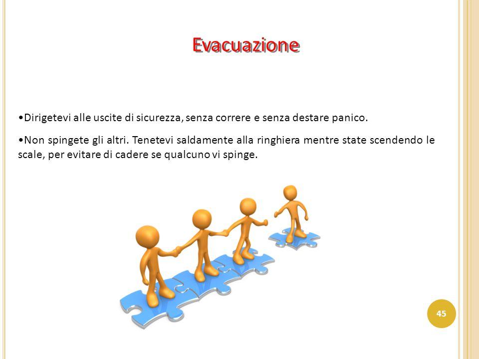 Evacuazione Dirigetevi alle uscite di sicurezza, senza correre e senza destare panico.