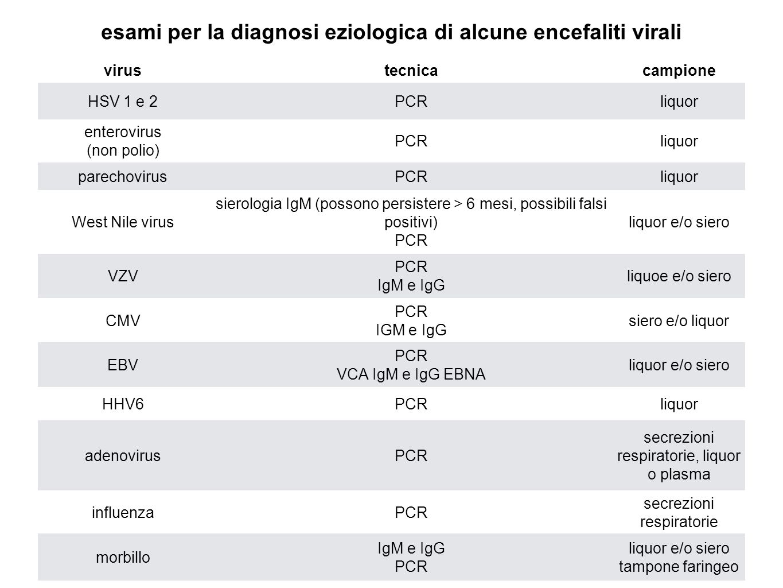 esami per la diagnosi eziologica di alcune encefaliti virali