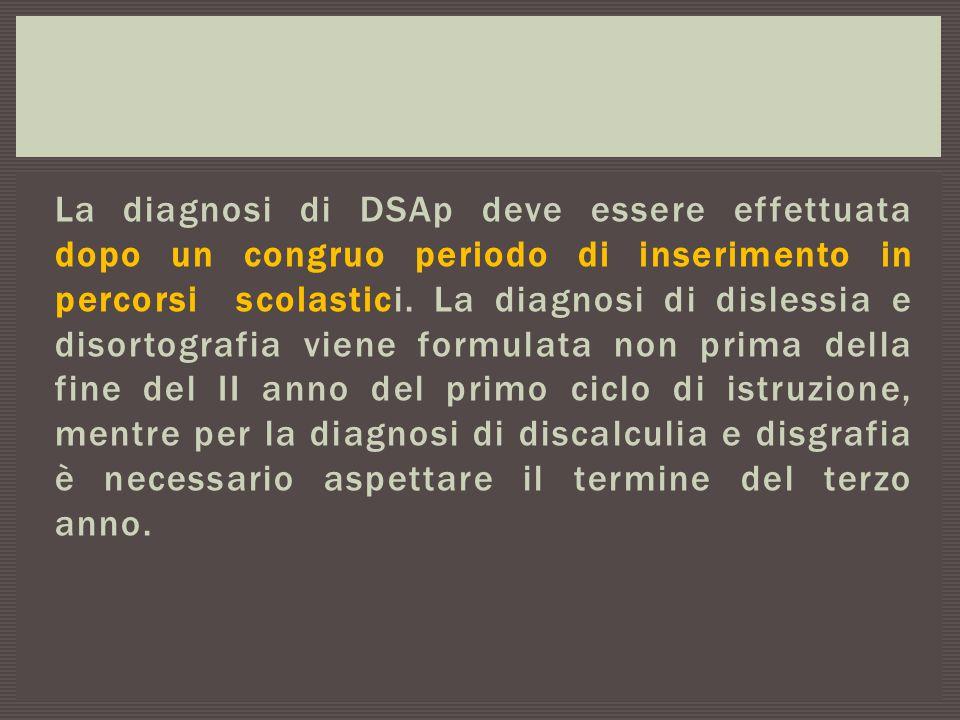 La diagnosi di DSAp deve essere effettuata dopo un congruo periodo di inserimento in percorsi scolastici.