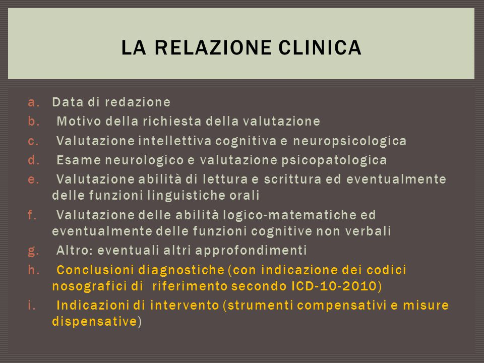 La relazione clinica Data di redazione