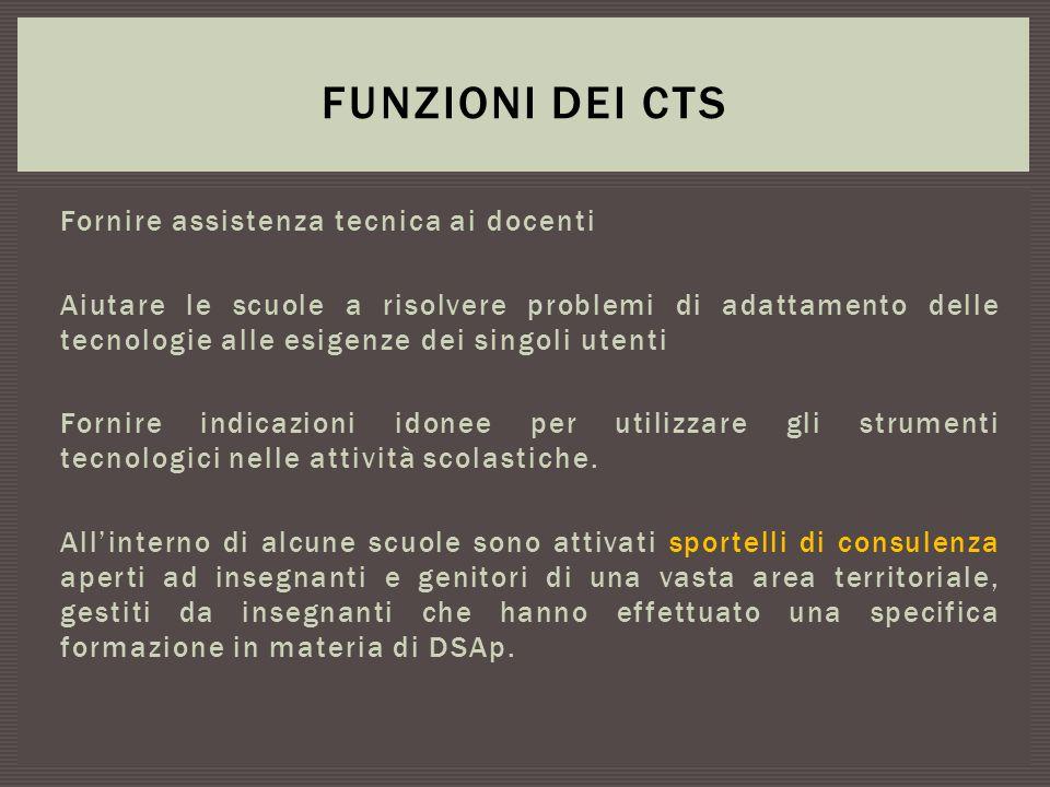 Funzioni dei CTS Fornire assistenza tecnica ai docenti