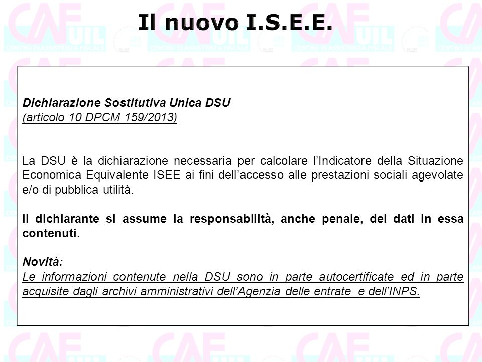 Il nuovo I.S.E.E. Dichiarazione Sostitutiva Unica DSU