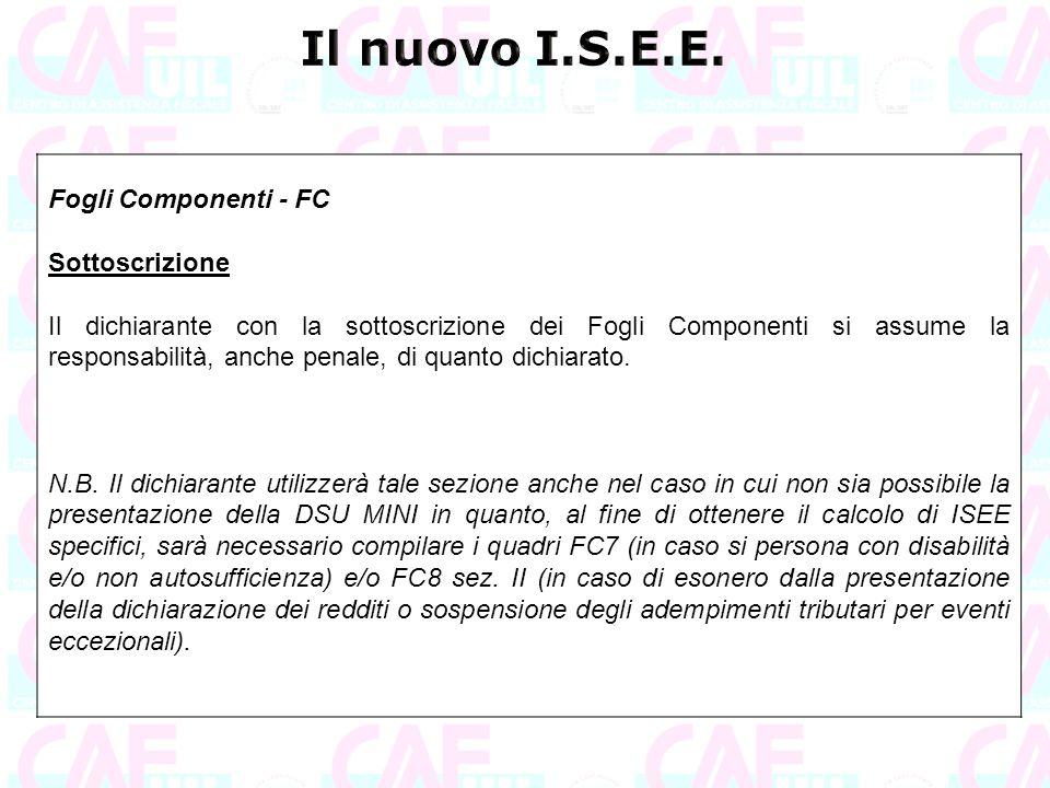 Il nuovo I.S.E.E. Fogli Componenti - FC Sottoscrizione