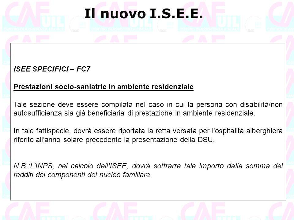 Il nuovo I.S.E.E. ISEE SPECIFICI – FC7