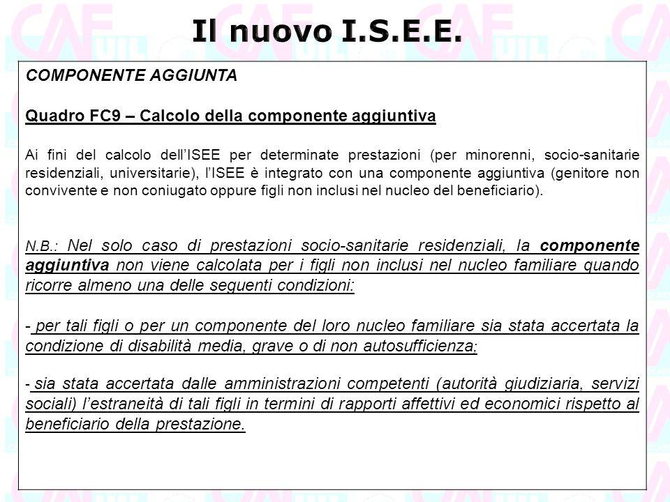 Il nuovo I.S.E.E. COMPONENTE AGGIUNTA