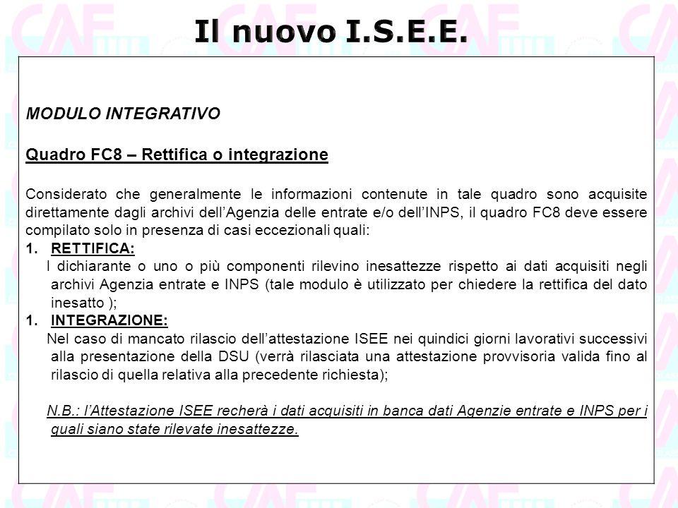Il nuovo I.S.E.E. MODULO INTEGRATIVO