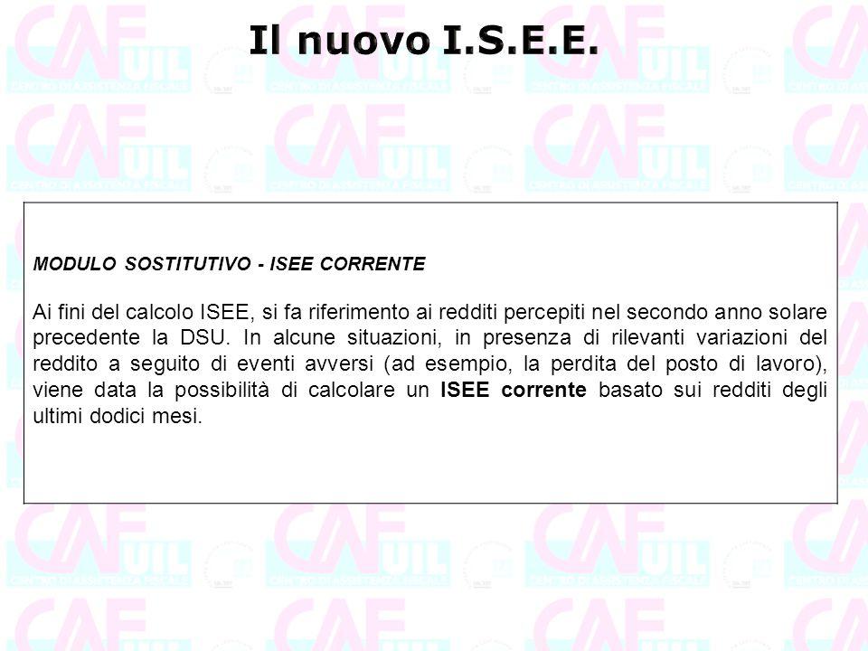 Il nuovo I.S.E.E. MODULO SOSTITUTIVO - ISEE CORRENTE.