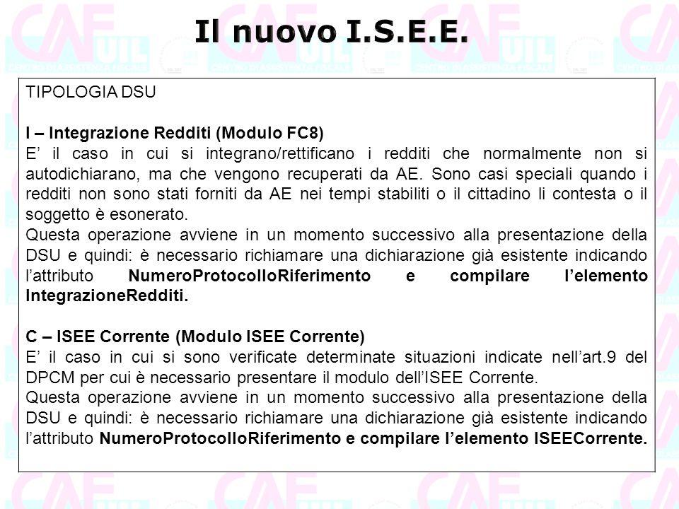 Il nuovo I.S.E.E. TIPOLOGIA DSU I – Integrazione Redditi (Modulo FC8)
