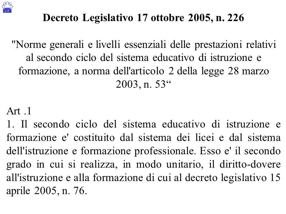 Decreto Legislativo 17 ottobre 2005, n. 226