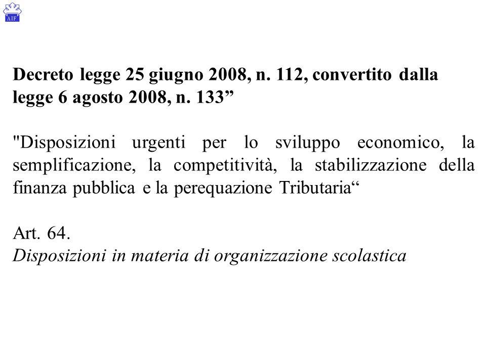 Decreto legge 25 giugno 2008, n. 112, convertito dalla legge 6 agosto 2008, n. 133