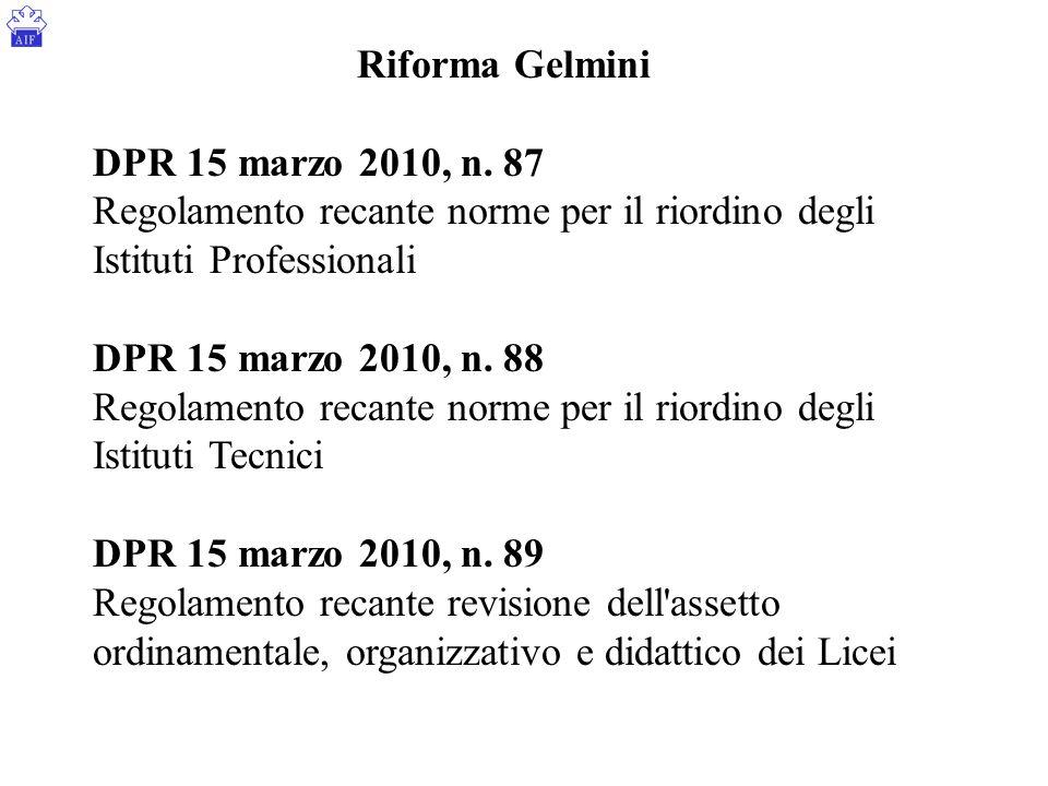 Riforma Gelmini DPR 15 marzo 2010, n. 87. Regolamento recante norme per il riordino degli Istituti Professionali.