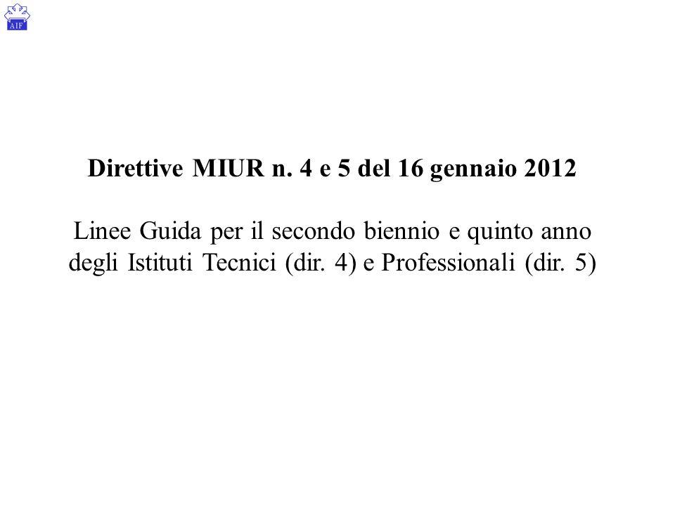 Direttive MIUR n. 4 e 5 del 16 gennaio 2012