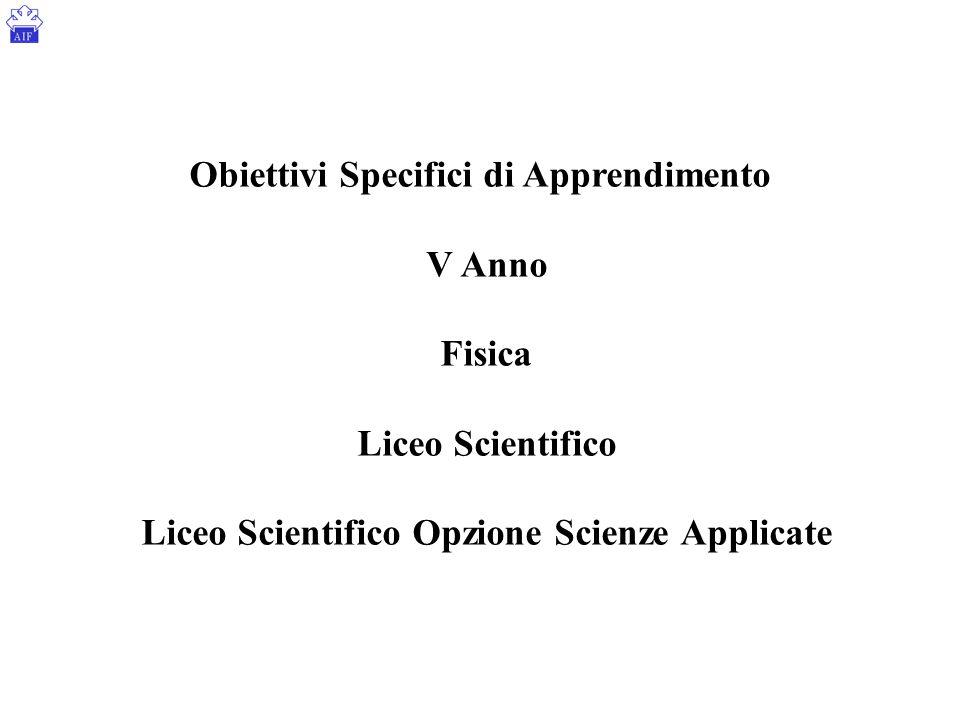 Obiettivi Specifici di Apprendimento V Anno Fisica Liceo Scientifico