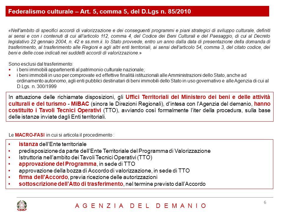 Federalismo culturale – Art. 5, comma 5, del D.Lgs n. 85/2010