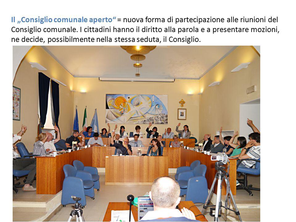 """Il """"Consiglio comunale aperto = nuova forma di partecipazione alle riunioni del"""