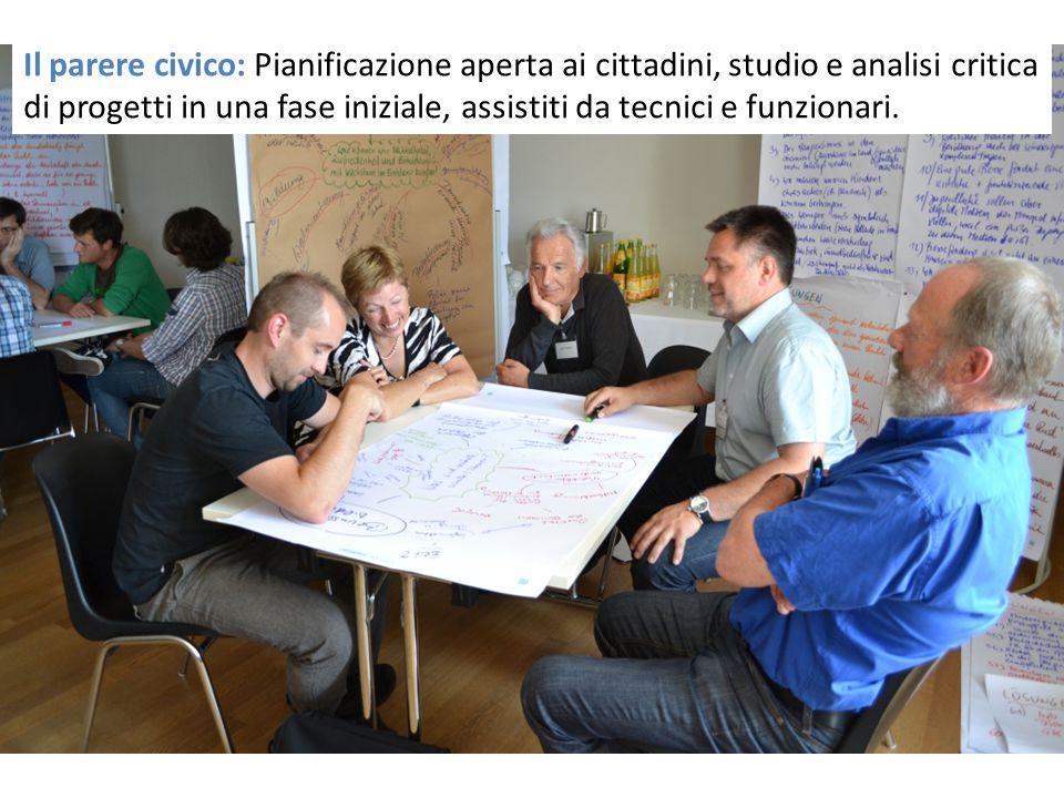 Il parere civico: Pianificazione aperta ai cittadini, studio e analisi critica di progetti in una fase iniziale, assistiti da tecnici e funzionari.