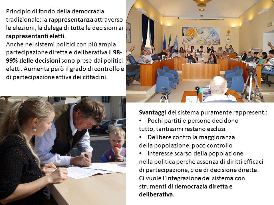 Principio di fondo della democrazia tradizionale: la rappresentanza attraverso le elezioni, la delega di tutte le decisioni ai rappresentanti eletti.
