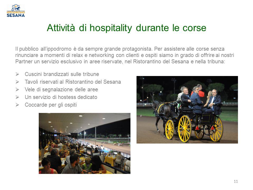 Attività di hospitality durante le corse