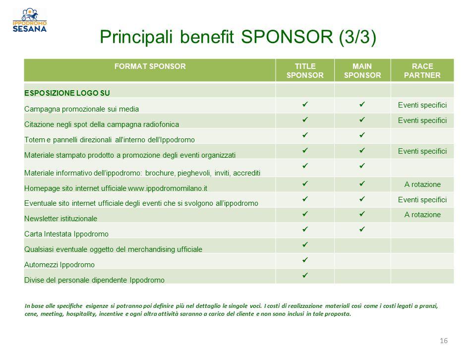 Principali benefit SPONSOR (3/3)