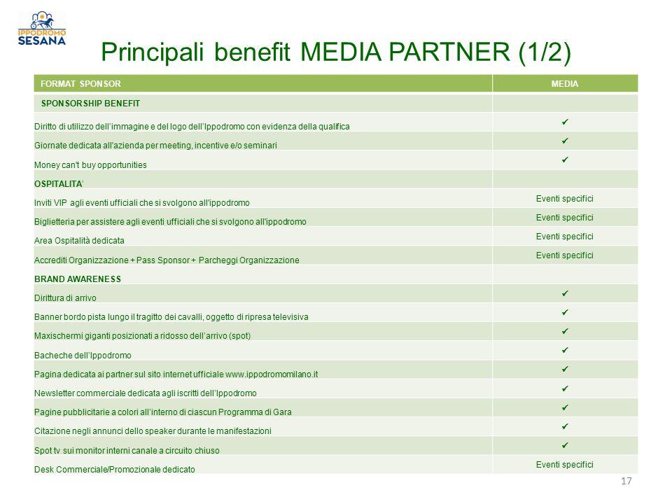 Principali benefit MEDIA PARTNER (1/2)
