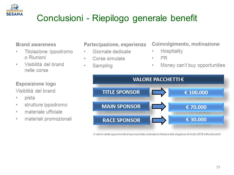 Conclusioni - Riepilogo generale benefit