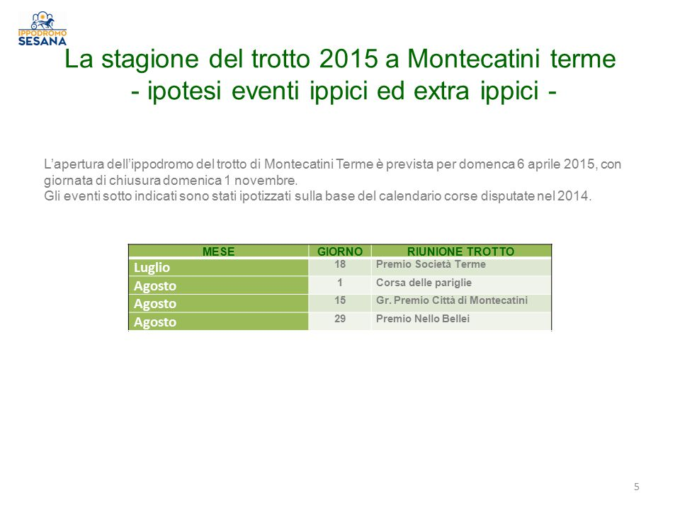 La stagione del trotto 2015 a Montecatini terme - ipotesi eventi ippici ed extra ippici -